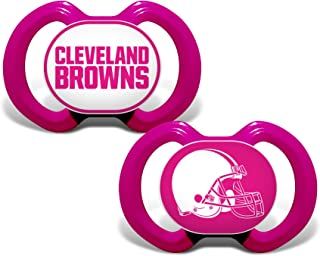 Baby Fanatic NFL Legacy Infant Pacifiers, Cleveland Browns Pink, 2 Pack