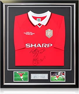 Teddy Sheringham And Ole Gunnar Solskjaer Signed Manchester United Shirt With Goal Times In Deluxe Black Frame