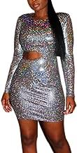 RARITYUS Women Sexy Holographic Dress Hologram Long Sleeves Mini Glitter Sequin Metallic Silver Bodycon Party Clubwear