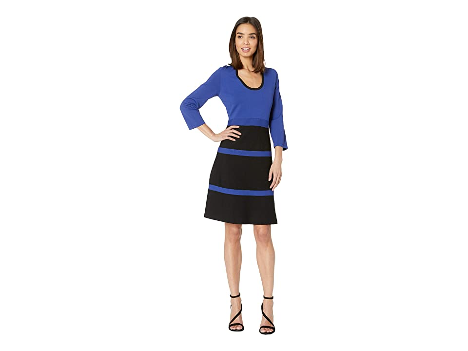 Anne Klein 3/4 Sleeve Fit Flare Knit Dress (Gauguin/Anne Black) Women