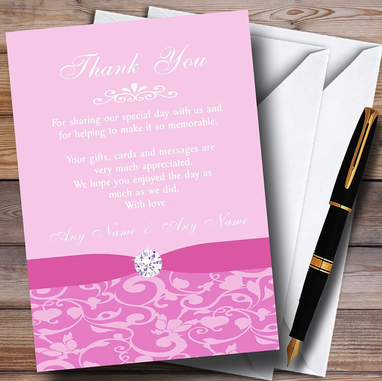 Dusty Pale Baby pink Pink Floral Damask Diamante Personalised Wedding Stationery Thank Y...