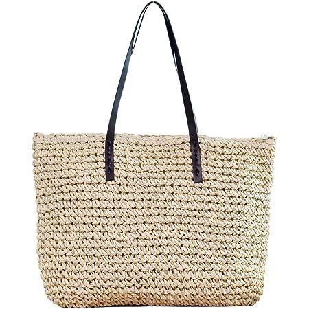 Faletony Sommer Stroh Strandtasche Groß Umhängetasche Shopper Handtasche Crossbody Strohtasche für Damen Mädchen Frau, Kaffeebraun/Weiß (Weiß)
