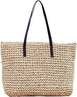 Faletony Sommer Stroh Strandtasche Groß Umhängetasche Shopper Handtasche Crossbody Strohtasche für Damen Mädchen Frau, Kaf...