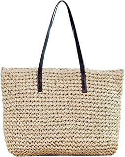 Womens Hand-woven Straw Shoulder Bag Large Summer Beach Leather Handles Handbag Tote with Zipper