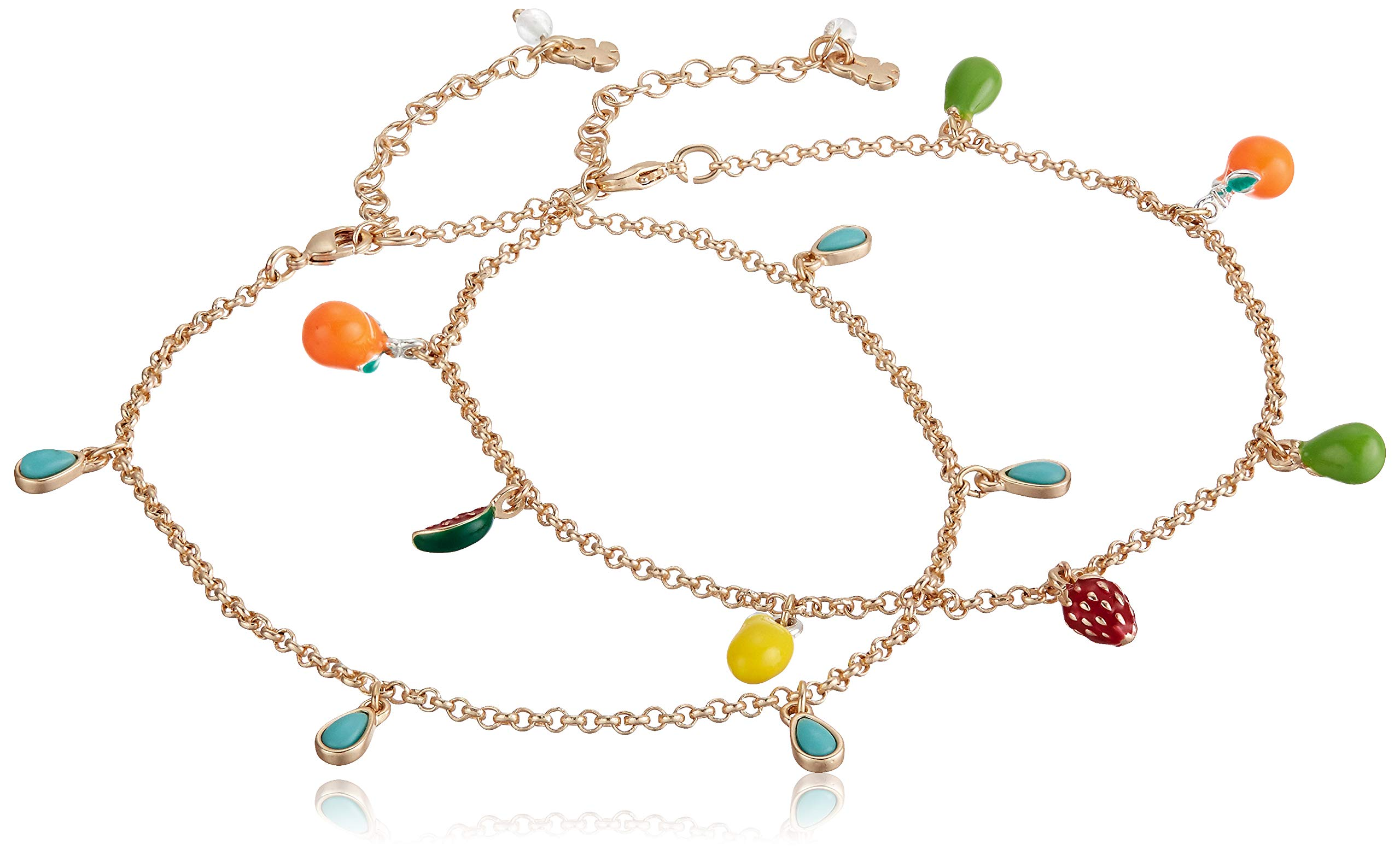 Bling Jewelry Multi Lucky Dangle Bead Charm Anklet Ankle Bracelet for Women 18K Gold Plated Brass Adjustable 9.5Inch