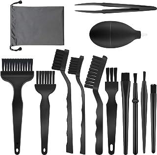 Lot de 13 brosses antistatiques pour clavier et PC avec pince, souffleur d'air et sac de rangement pour PC, téléphone, tab...