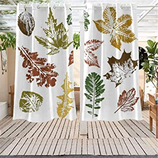 Xlcsomf Leaf IKEA Outdoor Curtains Autumn Spring Maple Oak Various Tree Leaves in Grunge Style Art Energy Efficient, Room Darkening W63 x L72 inch Burgundy Brown and Forest Green