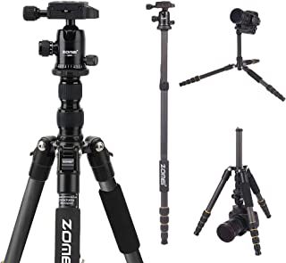 YESSBON ZOMEI Carbon Fiber Q666C Tripod Heavy Duty Lightweight Travel with 360 Degree Ball Head Compact for Canon Sony, Nikon, Samsung, Panasonic, Olympus, Kodak, Fuji, Cameras and DSLR