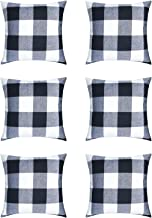 HaiMay 6 Pack Pillow Covers Buffalo Check Plaid Throw Pillow Covers Couch Pillows Cushion Case Decorative Pillows Cotton Linen Pillow Covers (18 x 18 inch)