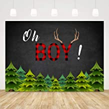 Oh Boy Baby Shower Backdrop Boy Baby Shower Background Drop 7x5ft Buffalo Plaid Woodland Baby Shower Backdrops for Boys 1st Birthday Party Supplies Babyshower Photobooth Backdrop It's a Boy Banner