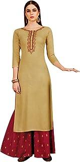 Ladyline Womens Plain Kurta with Palazzo Pants Indian Kurti Tunic