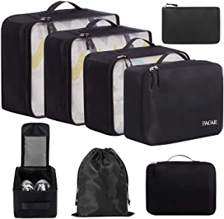 BAGAIL 8 Set Packing Cubes, Lightweight Travel Luggage Organizers with Shoe Bag, Toiletry Bag & Laundry Bag Black