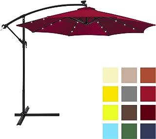 Best Choice Products 10-Foot Solar LED Offset Hanging Polyester Market Patio Umbrella w/Steel Frame and Easy Tilt Adjustment, Burgundy
