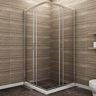 SUNNY SHOWER Corner Shower Enclosure 1/4 in. Clear Glass Double Sliding Shower Doors, 36 in. X 36 in. X 72 in. Bathroom Glass Door, Chrome Finish (Shower Base Not Included)