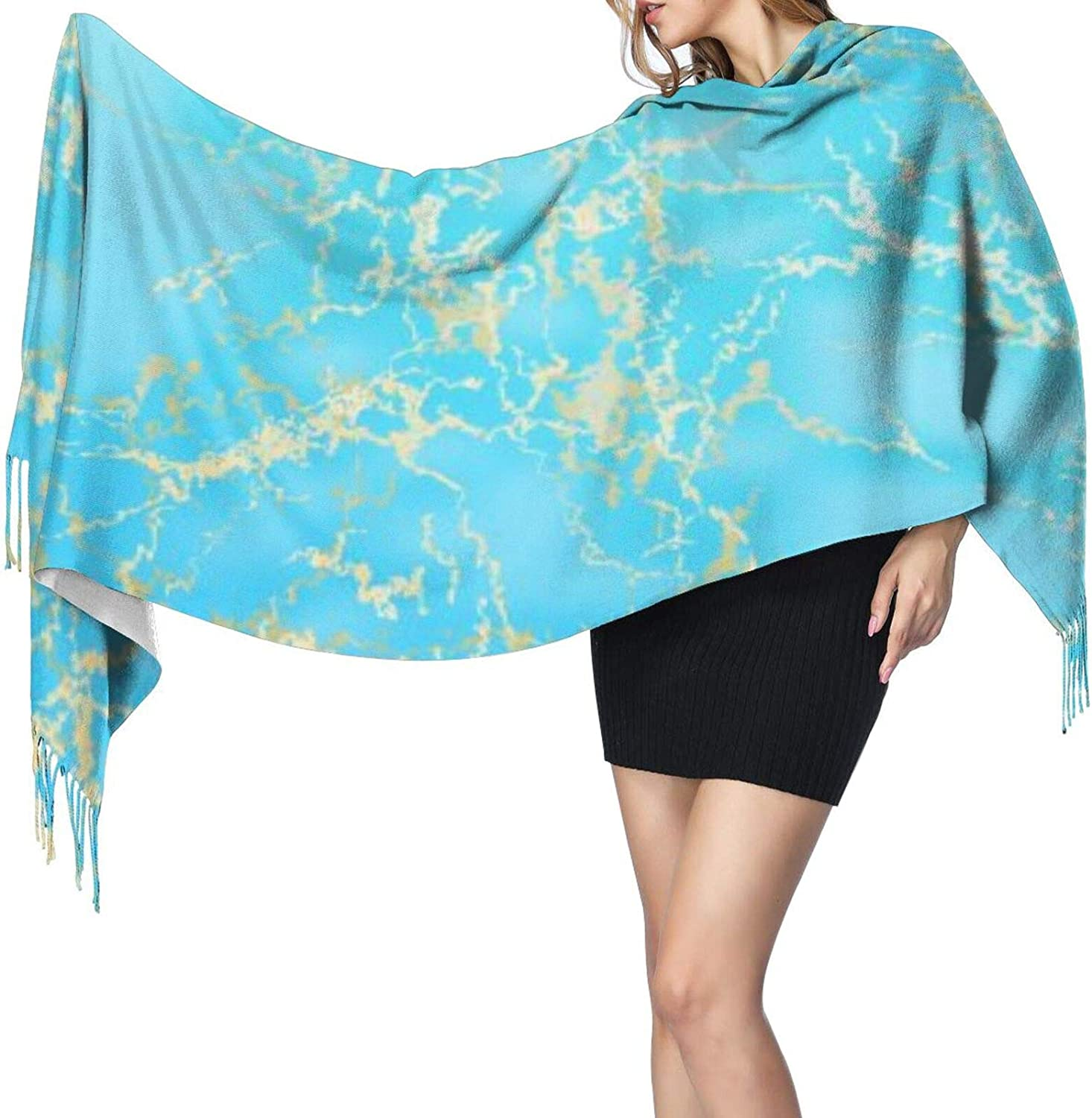 Cashmere fringed scarf Blue gold marble winter extra large scarf