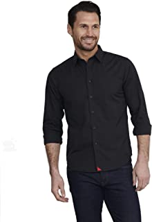 UNTUCKit Carter with Red - Men's Button Down Shirt Long Sleeve, Solid Black