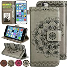 iPhone 8 Plus/iPhone 7 Plus Slim Flip Wallet Case, Magnetic Kick-Stand Pouch and Card Solts Holder 3D Relief Mandala Floral Leather Case for iPhone8 Plus (2017) or iPhone7 Plus (2016) [5.5'', Grey]