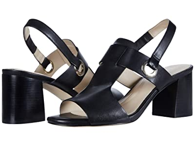 Cole Haan Adele Sandal (65 mm) (Black Leather/Black Semi Shine Stack) Women