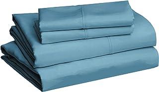 "amazonbasics Lightweight Super Soft Easy Care Microfiber Bed Sheet Set with 16"" Deep Pockets - Queen, Dark Teal"