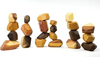 22 Piece Tumi Ishi Wood Rock Set - Handmade Wood Balancing Blocks - Natural Wood - No Paint or Stain -100% Organic Jojoba Oil and Beeswax Finish - Creative Open-ended Educational Toy - Made in the USA