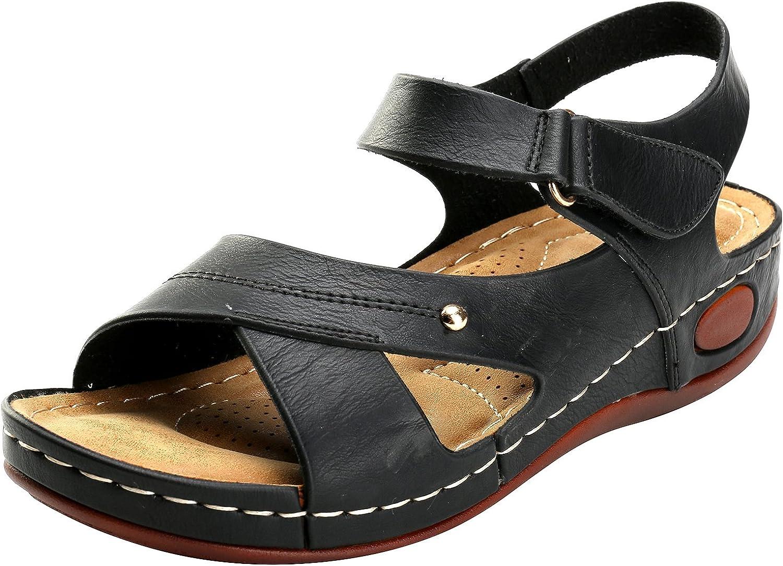 Alexis Leroy Women's Pearls Buckle Strap Open Toe Platform Sandals