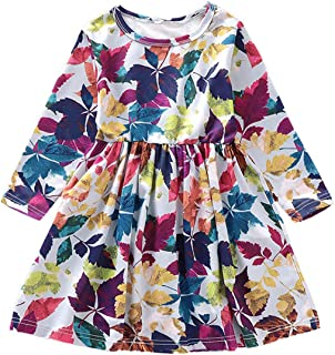 SEVEN YOUNG Kids Toddler Baby Girls Dress Outfits Floral Maple Leaf Print Fall Dresses Long Sleeve Clothes Set