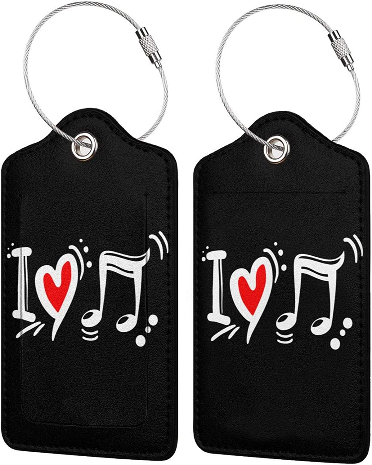 I Love Music Symbol cheap PU It is very popular Leather Rectangle Luggage Tags Bag Travel