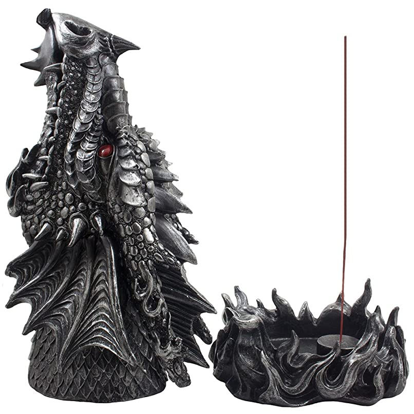 Mythical Fire Breathing Dragon Incense Holder & Burner Combo Statue for Sticks or Cones with Decorative Display Stand of Flames As Gothic Home Decor Aromatherapy Sculptures and Mediaeval Fantasy Gifts