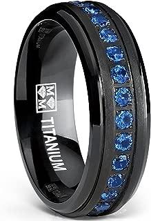 Black Titanium Men's Eternity Ring Band with Deep Blue Cubic Zirconia CZ