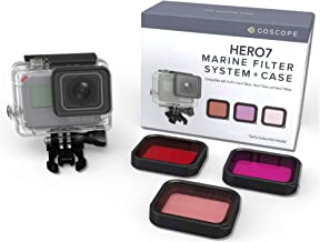 GOSCOPE HERO7 Black Red Filter (Fits Hero7 Black/Hero6/Hero5/Hero) Laser Cut Contrast Enhancement Glass for Colorful/Vivid Underwater Video/Pictures - Fits: GoPro Hero7 Black Includes: 60m Housing
