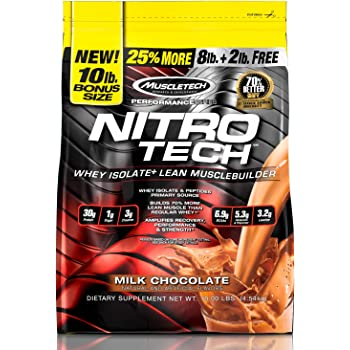 MuscleTech NitroTech Protein Powder Plus Muscle Builder, 100% Whey Protein with Whey Isolate, Milk Chocolate, 10 Pounds (100 Servings)