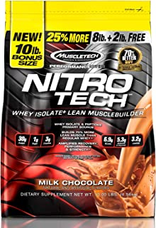 MuscleTech NitroTech Protein Powder Plus Muscle Builder, 100% Whey Protein with Whey Isolate, Milk Chocolate, 10 Pounds (1...