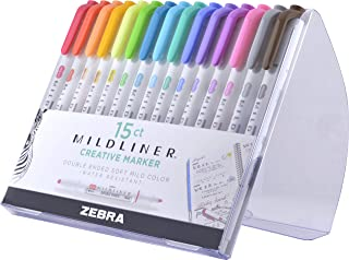 Zebra Pen Mildliner, Double Ended Highlighter, Broad and Fine Tips, Assorted Colors, 15 Pack