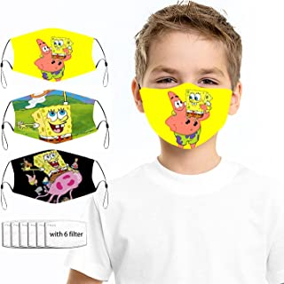 Sponsored Ad - 3Pack+6 Filters Cute Cartoon Face_Mask Kawaii Masks for Boys Girls Kids 3D Cartoon Mouth Cover With Adjusta...