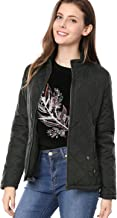 Allegra K Women's Stand Collar Zip Lightweight Quilted Jacket