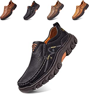 Mocasines de Piel para Hombre, Estilo Casual, Oxford, Costuras a Mano, cómodos,Caminar,Trabajo, Oficina, Zapatos Vestir, A...