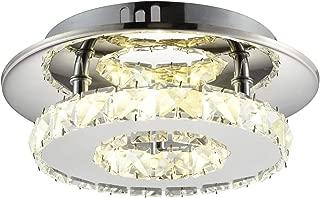 Ganeed Flush Mount Ceiling Light, Stainless Steel K9 Crystal Modern Ceiling Flush Mount Fixture, Round Ceiling Lamp for Dining Living Room Bedroom Bathroom (7.9 Inch/12W/4000K/Neutral Light)