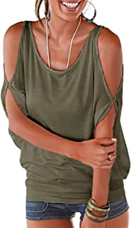 LEIYEE Womens Cold Shoulder Tops Short Sleeve T Shirt Pullover Casual Dolman Blouses