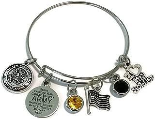Army Bracelet, Army Jewelry, Army Wife Bracelet, Army Girlfriend Bracelet, Army Sister Bracelet, Army Mom Bracelet, Army Bangle Bracelet