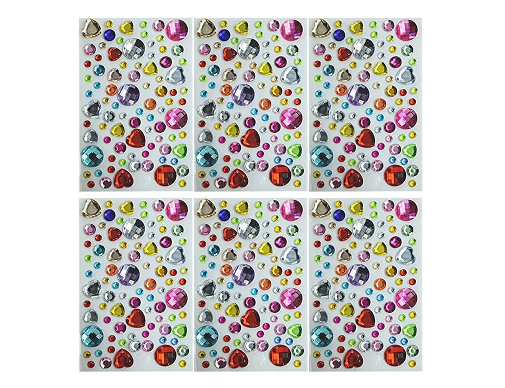 Unobite Self-Adhesive Rhinestone Stickes, Bling Craft Jewels Crystal Gem Stickers, Assorted Size and Color(Pack of 6)