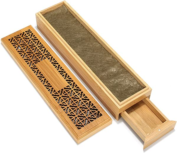 Jeteven Wooden Coffin Incense Burner Holder Bamboo Sandalwood Incense Sticks Holder Ash Catcher With Storage Compartment 9 3x2 4x2 Inches