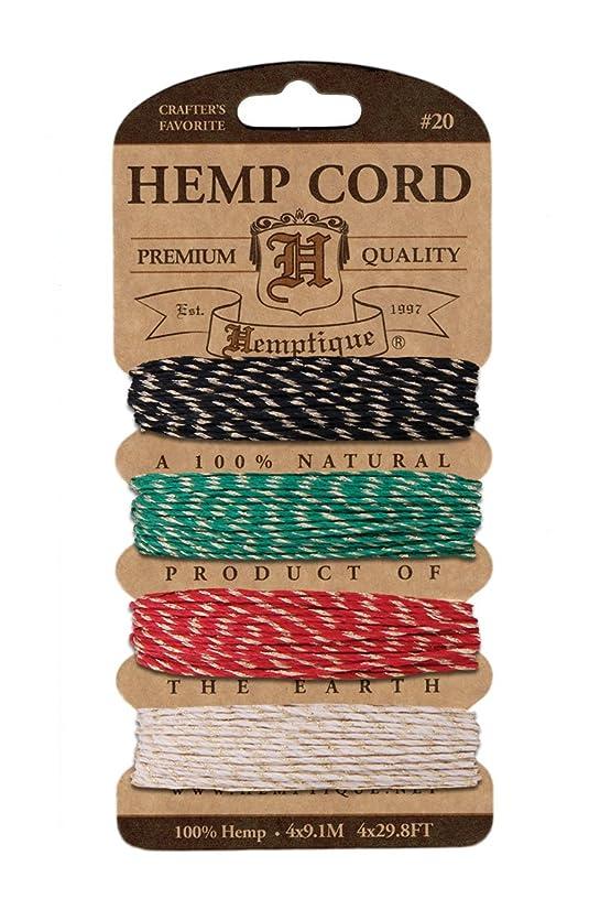 Hemptique H20-MRASG Hemp Cord Card 20 - Metallic Rasta Glitter