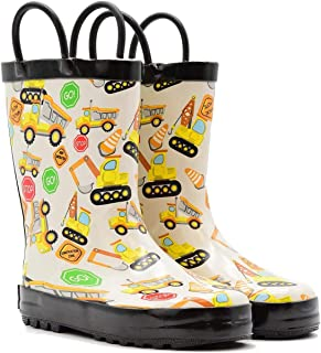 Mucky Wear Children's Rubber Rain Boots with Easy-On Handles Available in Different Colorful Designs