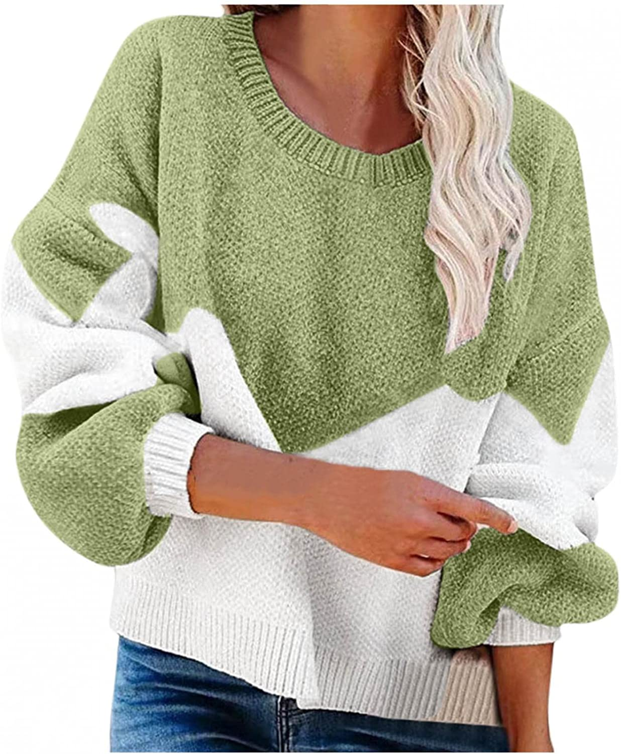 Yamart Women's Sweaters Crew Neck Lantern Sleeve Oversized Casual Color Block Pullover Sweater