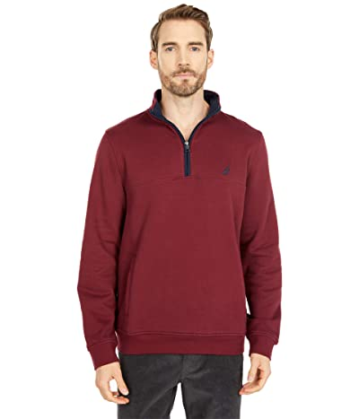 Nautica 1/4 Zip Knit Sweater (Zinfandel) Men