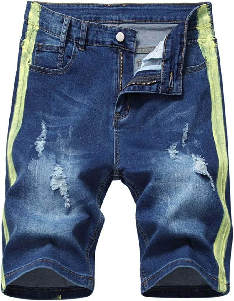 Gergeos Men Jeans Shorts Summer Casual Cut Off Distressed Button Up Ripped Mid Waist Denim Shorts