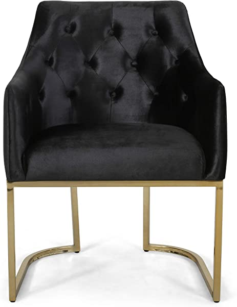 Christopher Knight Home 308958 Fern Modern Tufted Glam Accent Chair With Velvet Cushions And U Shaped Base Black And Gold Finish