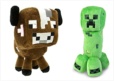 """Official Minecraft Overworld 7"""" Plush SET of 2: Baby Cow and Creeper"""