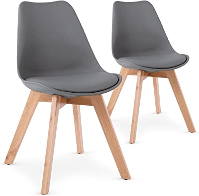 Menzzo Lot de 2 chaises Style scandinave Bovary Gris