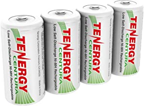 Tenergy Centura NiMH Rechargeable C Batteries, 4000mAh C Battery, Low Self Discharge C Cell Battery, Pre-charged C Size Battery, 4 Pcs